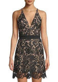 Dress the Population Ava Crochet Lace Illusion-Dress