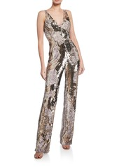 Dress the Population Charlie Sequin Snake-Print Sleeveless Jumpsuit