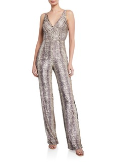Dress the Population Charlie Sequin Snake-Print Sleeveless Jumpsuit