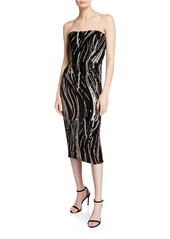 Dress the Population Claire Sequin Stripe Strapless Cocktail Dress