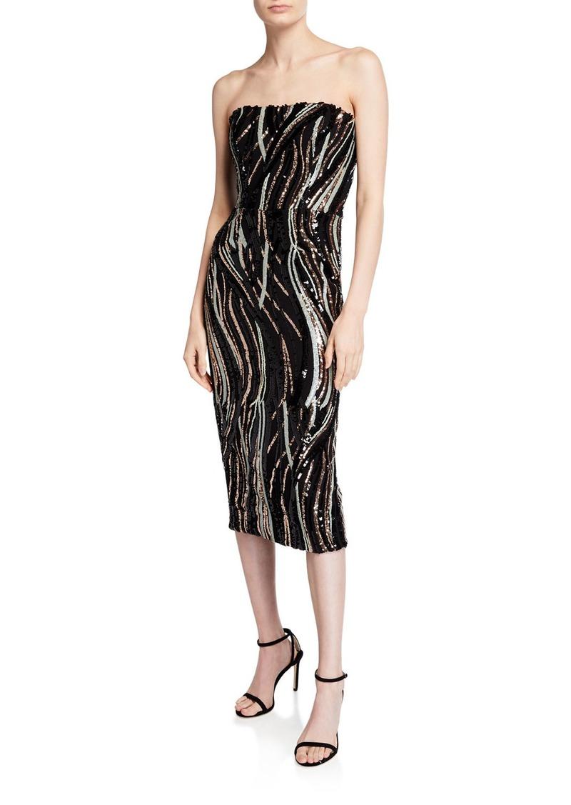 Claire Sequin Stripe Strapless Cocktail Dress