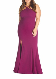 Dress the Population Brianna Halter Mermaid Gown Dress