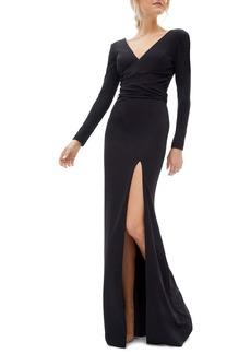 Dress the Population Carmen Long Sleeve V-Neck Gown
