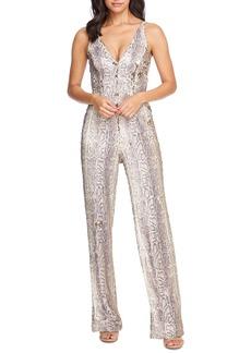 Dress the Population Charlie Python Print Sequin Jumpsuit