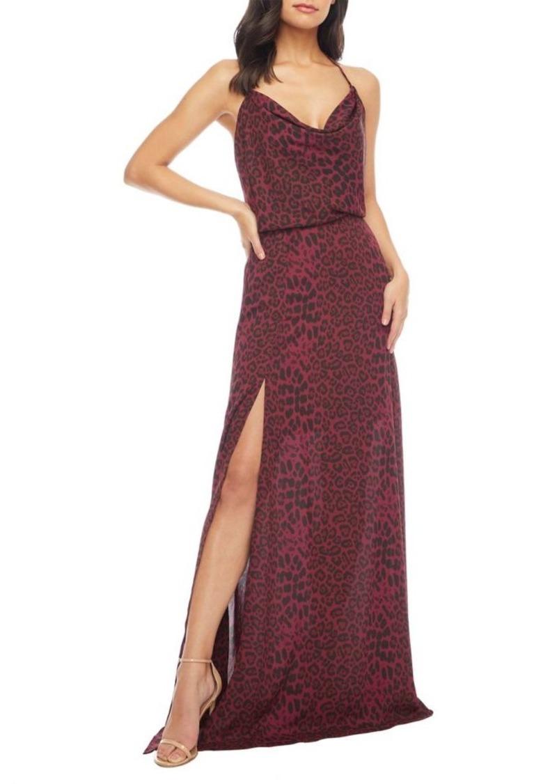 Dress The Population Cheyenne Cowl Halter Maxi Dress