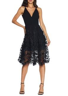 Dress the Population Darleen V-Neck Embroidered Mesh Cocktail Dress