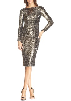 Dress the Population Emilia Leopard Sequin Long Sleeve Cocktail Dress