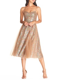 Dress the Population Ensley Sequin Embroidered Tulle Dress