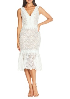 Dress the Population Everleigh Lace Body-Con Midi Cocktail Dress