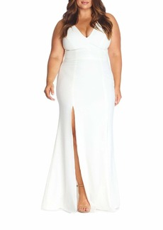 Dress the Population Iris Crepe Side Slit Gown Dress