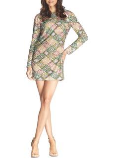 Dress the Population Kensie Patchwork Sequin Long Sleeve Minidress
