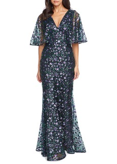 Dress the Population Laine Sequin Lace Cape Sleeve Gown