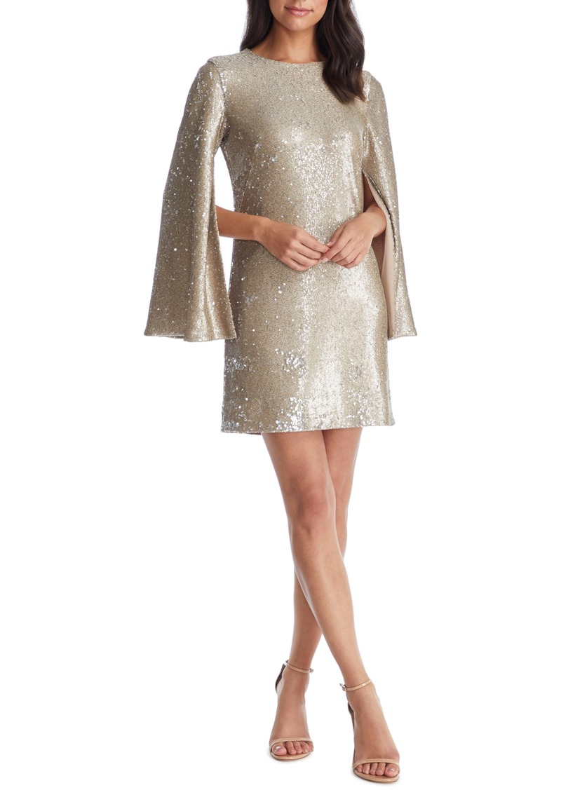 Dress the Population Liza Cape Sleeve Sequin Minidress