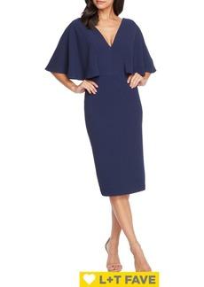 Dress The Population Louisa V-Neck Flutter Sheath Dress