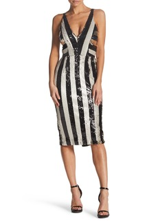 Dress the Population Margo Plunging Stripe Dress