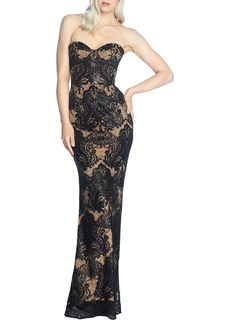 Dress the Population Nicolette Sequin Lace Strapless Trumpet Gown