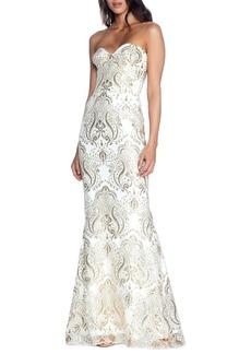 Dress the Population Nicolette Sequin Strapless Trumpet Gown
