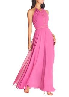 Dress the Population Odette Halter Neck Chiffon Maxi Dress