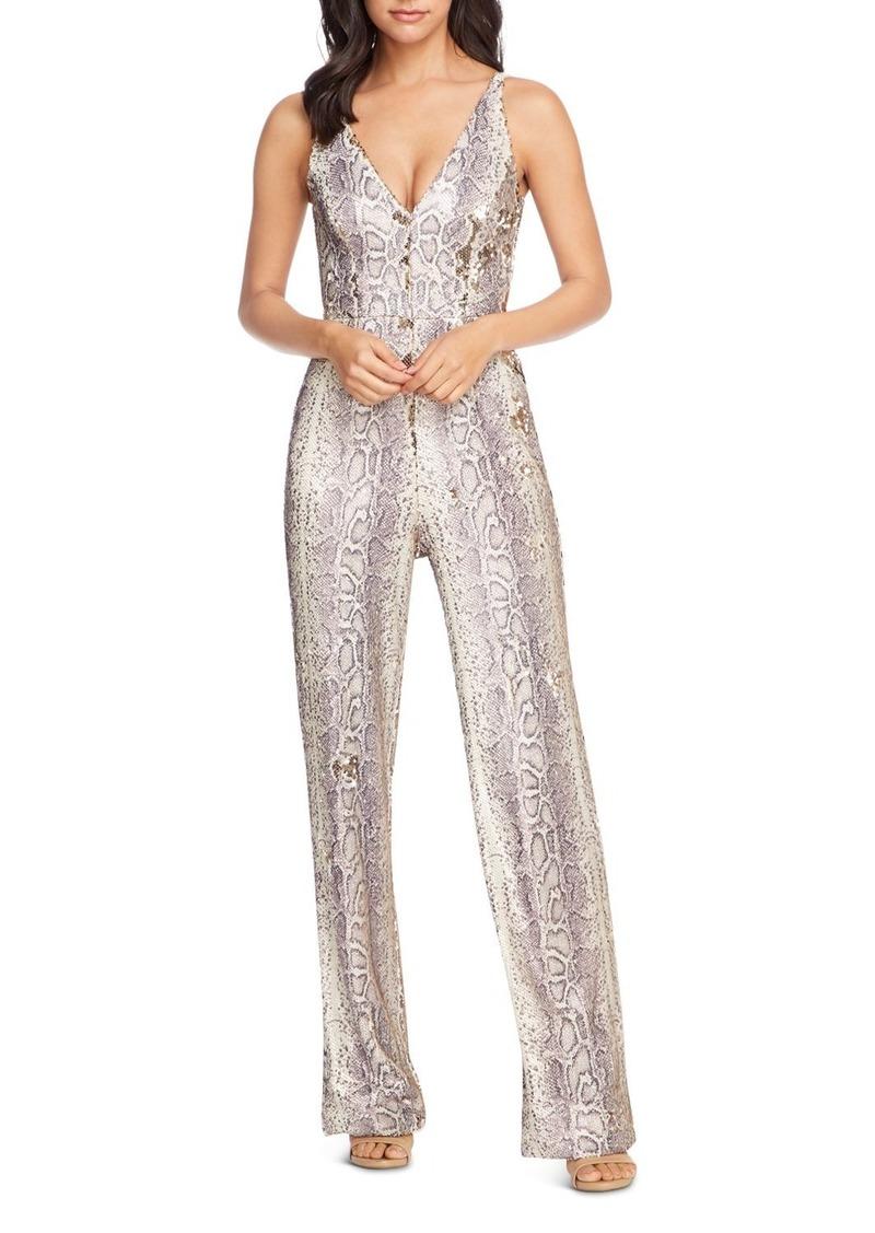 Dress the Population Python-Print Sequin Jumpsuit