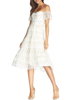 Dress the Population River Embroidered Floral Off the Shoulder Dress