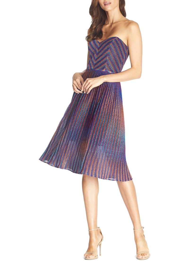 Dress the Population Rosalie Metallic Stripe Strapless Cocktail Dress