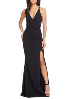 Dress the Population Ruched Side Slit Gown