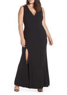 Dress the Population Sandra Plunge Gown (Plus Size)