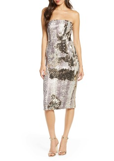 Dress the Population Snake Print Sequin Tube Dress