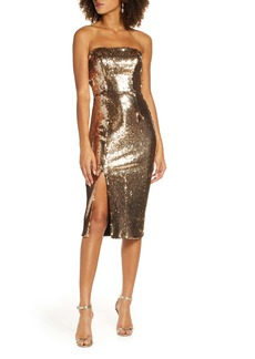 Dress the Population Strapless Sequin Tube Dress