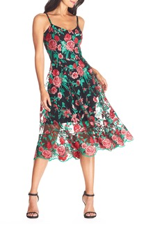 Dress the Population Uma Floral Embroidered Tulle Dress