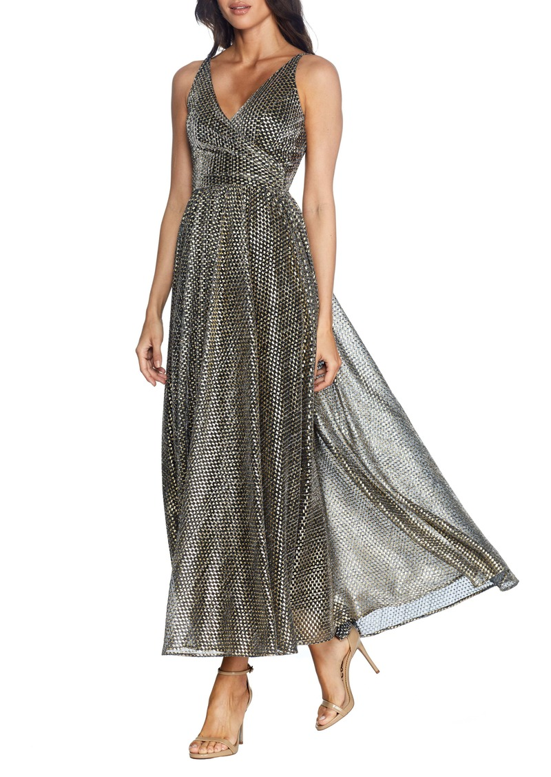 Dress the Population Valentino Metallic A-Line Gown