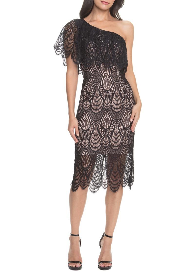 Violet One Shoulder Lace Sheath Dress