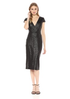 DRESS THE POPULATION Women's Allison Plunging Sequin Fitted Midi Cap Sleeve Sheath Dress  XS