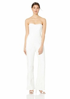 DRESS THE POPULATION Women's Andy Strapless Sequin Wide Leg Jumpsuit  xs