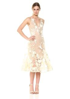 Dress the Population Women's Audrey Spaghetti Strap MIDI A-LINE 3D Floral Dress  XS