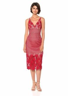 Dress the Population Women's Aurora Lace Plunging Spaghetti Strap Midi Sheath Dress  XXS