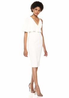 Dress the Population Women's Beth Ruffle Sleeve Plunging MIDI Sheath Dress  XXL