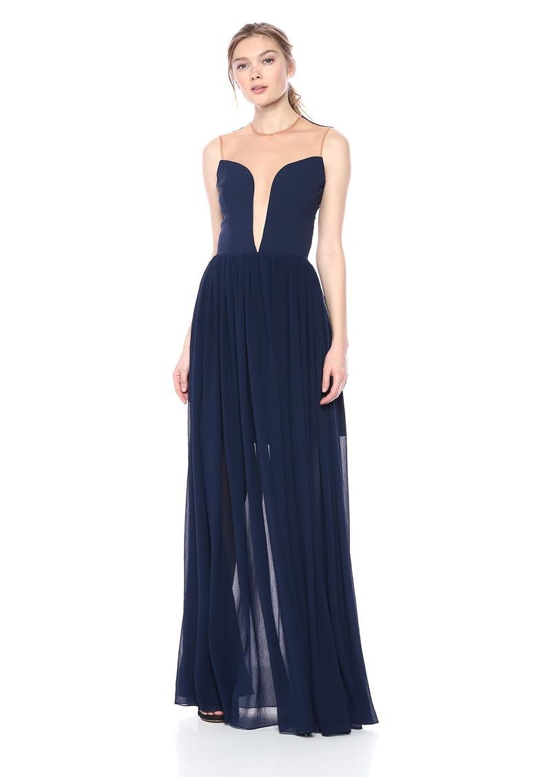 Dress the Population Women's Bridgette Plunging FIT & Flare Solid Flowy Gown  M