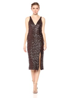 Dress the Population Women's Camilla Plunging Sequin Sleeveless Bodycon MIDI Sheath Dress  L