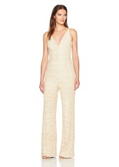 Dress the Population Women's Charlie Plunging Sequin Sleeveless Jumpsuit  S
