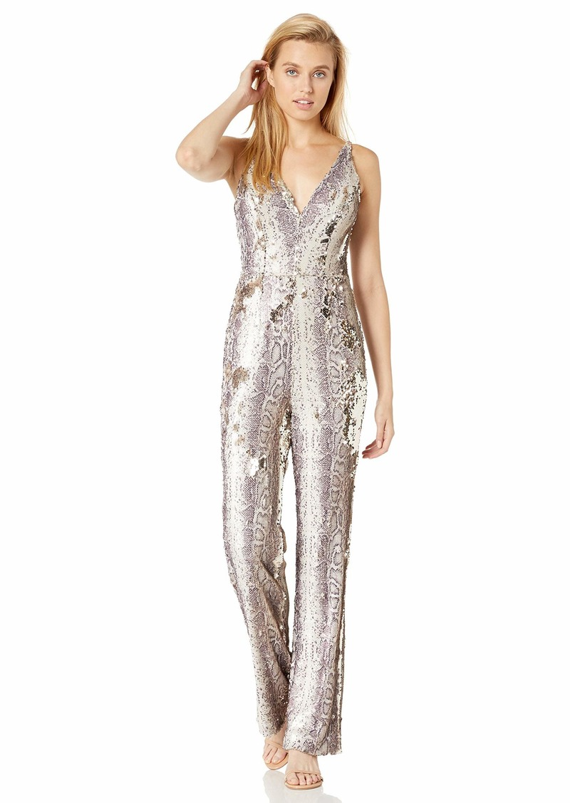 Dress the Population Women's Charlie Plunging Sequin Sleeveless Jumpsuit  XXL