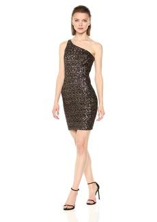 Dress the Population Women's Cher One Shoulder Sequin Midi  L