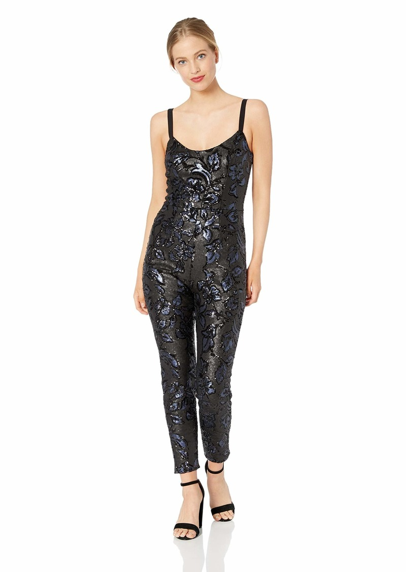 Dress the Population Women's Chloe Sleeveless Sequin Fitted Jumpsuit  XL