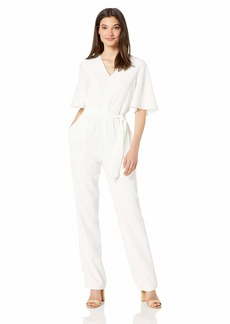 DRESS THE POPULATION Women's Cristina Short Sleeve Blouson Jumpsuit with Pockets Off