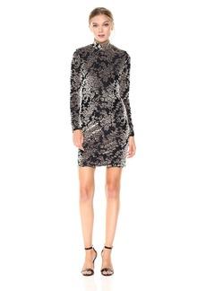 Dress the Population Women's Dana Long Sleeve Velvet Mini Dress  M