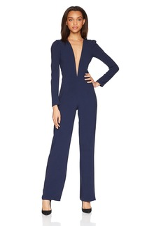 Dress the Population Women's Drew Long Sleeve Plunging Jumpsuit  M