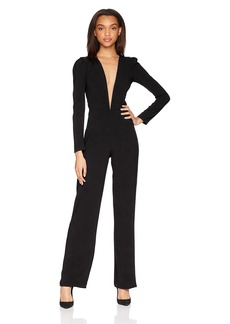 DRESS THE POPULATION Women's Drew Long Sleeve Plunging Jumpsuit  XS
