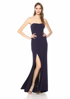 Dress the Population Women's Ellen Strapless Dress Solid Crepe Long Gown W Slit  xs
