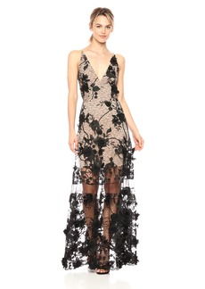 Dress the Population Women's Embellished Plunging Gown Sleeveless Floral Long Dress  M