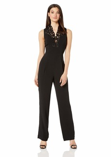 DRESS THE POPULATION Women's Emerson Lace Detail Stretch Sleeveless Jumpsuit  M